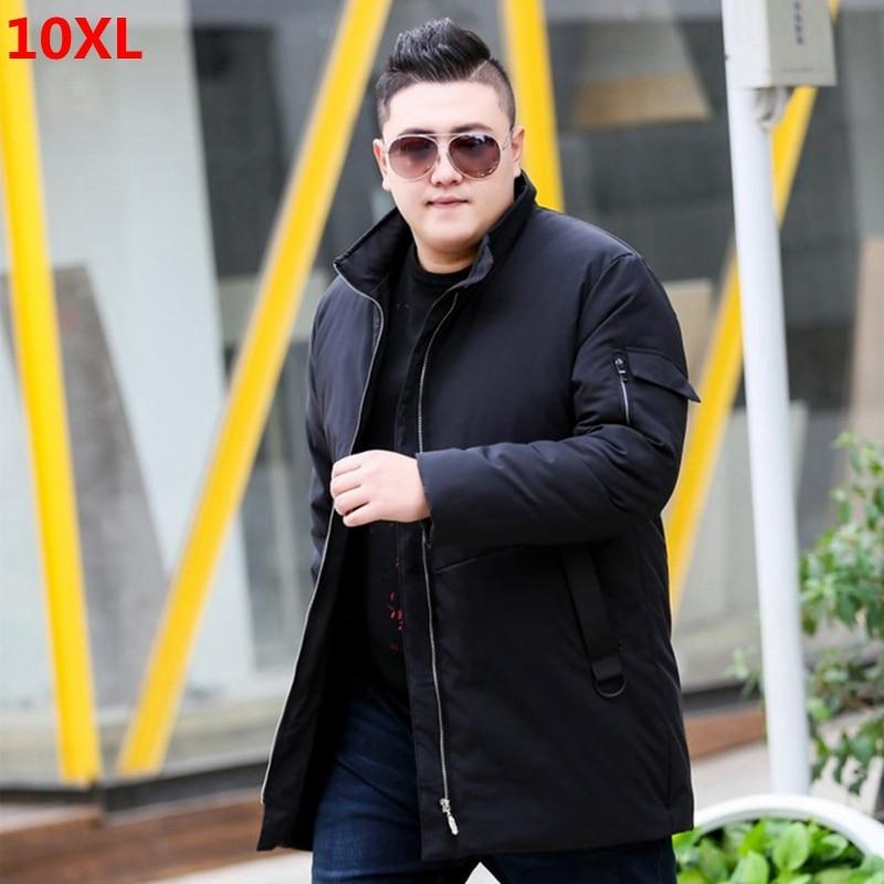 Winter long section XL men's down jacket plus velvet lining loose male winter coat 9XL 10XL 11XL