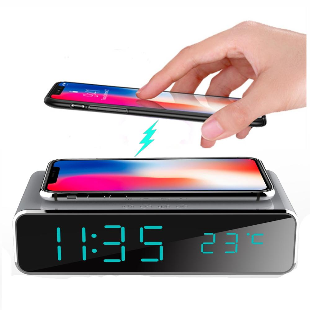 Electric LED Mirror Alarm Clock with Phone Wireless Charger including Digital Thermometer and Date Powered by USB Cable