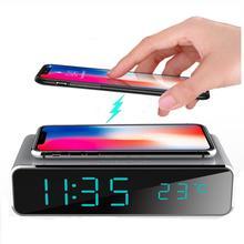 الكهربائية LED ساعة تنبيه مع شواحن الهواتف الجوال سطح المكتب ميزان الحرارة الرقمي ساعة HD مرآة ساعة مع تاريخ 12/24 h التبديل