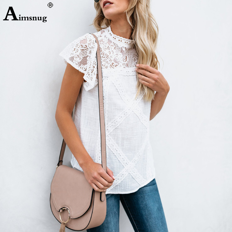 Hcae26c875830488fb9a488eb324cb88dA - Aimsnug Women White Elegant T-shirt Lace Patchwork Female O-neck Hollow Out Shirt Summer New Solid Casual Women's Tops
