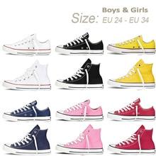 Дети Мальчики Девочки Аутентичные классические Allstar Chuck-Taylor Ox Низкая Высокая Детская текстильная обувь Детские повседневные кроссовки
