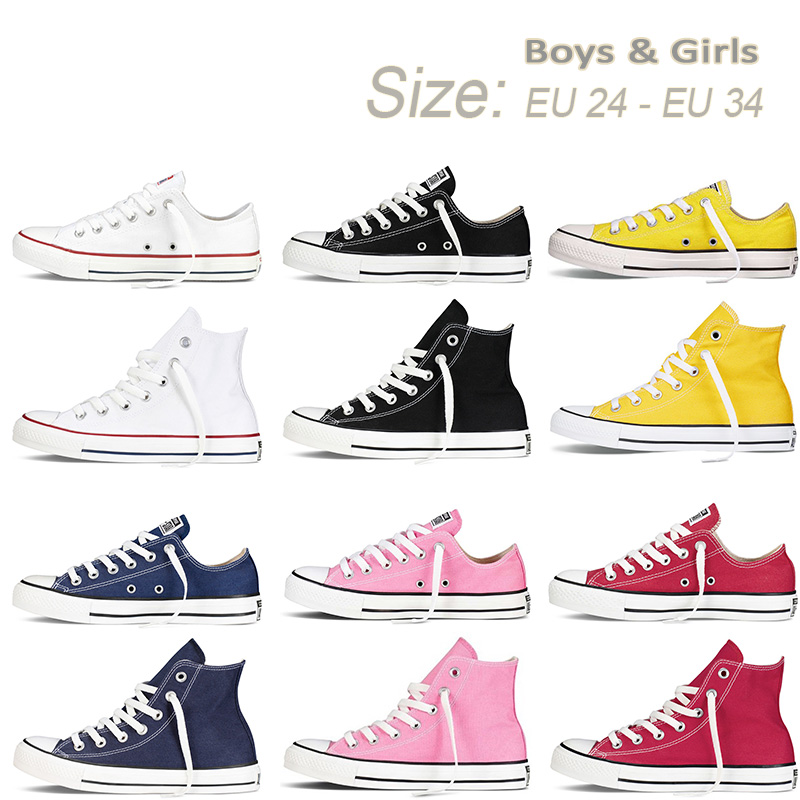 KIDS Boys Girls Authentic Classic Allstar Chuck-Taylor Ox Low High Top CHILD Canvas Shoes Children Casual Sneakers