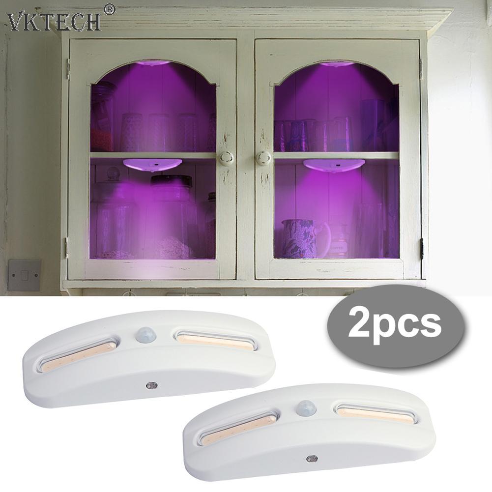 2pcs Cabinet Wardrobe COB UV Sterilization Lights Motion Sensor USB Rechargeable UV Germicidal Lamp Kitchen Toilet Showcase Lamp