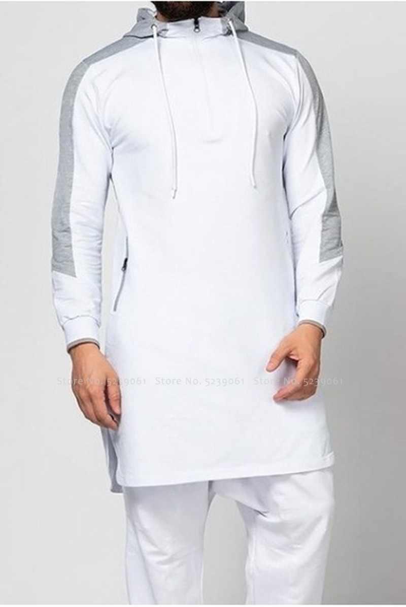 Mężczyźni Jubba Thobe muzułmanin arabski islamska odzież dubaj Kaftan Fitness siłownia z długim rękawem Top Arabia saudyjska sweter z kapturem Jogging