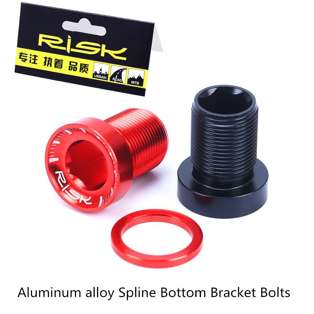 RISK 2pcs/set Mountain Bike Bicycle Aluminium Alloy Spline Bottom Bracket Fixing Bolts With Washer Chain Wheel Arm Crank Screw