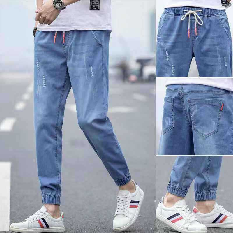 With Holes Casual Jeans Men's Loose-Fit Beam Leg Versatile Summer Pants Men's Elasticity Slim Fit Trend Thin Capri Pants