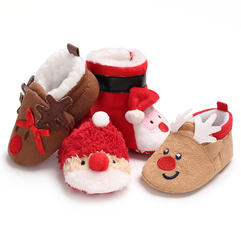 Christmas Cartoon Toddler Boots Baby Shoes Cute Newborn Boys Girls First Walkers Flats Soft Sole Non-slip Crib Shoes Footwear