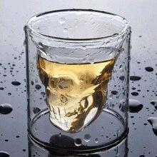 Кофейная кружка двухслойная прозрачная Хрустальная головка черепа стеклянная чашка для домашнего использования виски вино водка бар клуб пиво бокал для вина