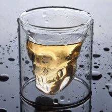 Taza de café de doble capa transparente Calavera de Cristal copa de cristal para el hogar whisky vino Vodka Bar Club cerveza vino Copa