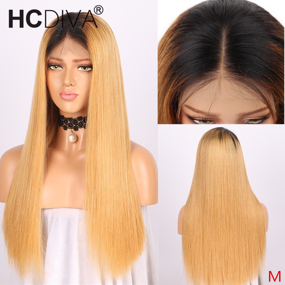 1B/27 Ombre Lace Front Wig 13*4 Straight Lace Front Human Hair Wig 150% Middle Ration Remy Peruvian Lace Wig For Black Women