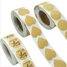 500 pièces/rouleau amour coeur peau de vache blanc autocollant étiquette Kraft autocollants papier rond bricolage paquet cadeau 25*25mm