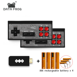 DATA FROG 8 bit 4K Mini Video Game Console Dual Players Wireless Controller Build in 568 Classic Games Support AV/HDMI Output