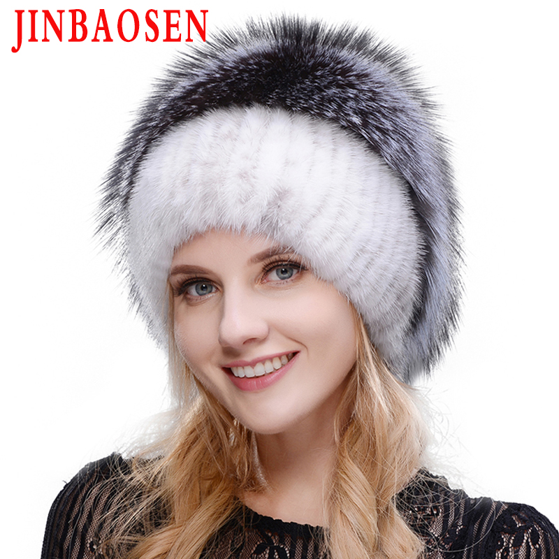 Russian fashionable mink fur fox hat woman winter warm fox knitted hat woman 2019 new natural fur and water drill Ski Hat-in Women's Skullies & Beanies from Apparel Accessories