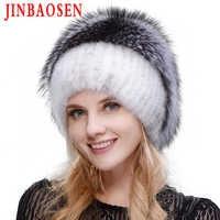 Russian fashionable mink fur fox hat woman winter warm fox knitted hat woman 2019 new natural fur and water drill Ski Hat