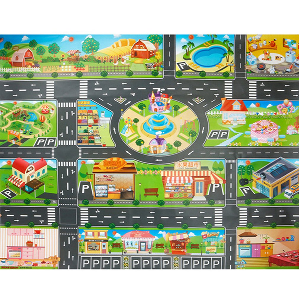 Children Playing Mat Floor Game Baby Crawling Mat Pad 130*100CM Waterproof Kids Traffic Road Sign Car Parking Lot Boy Toys