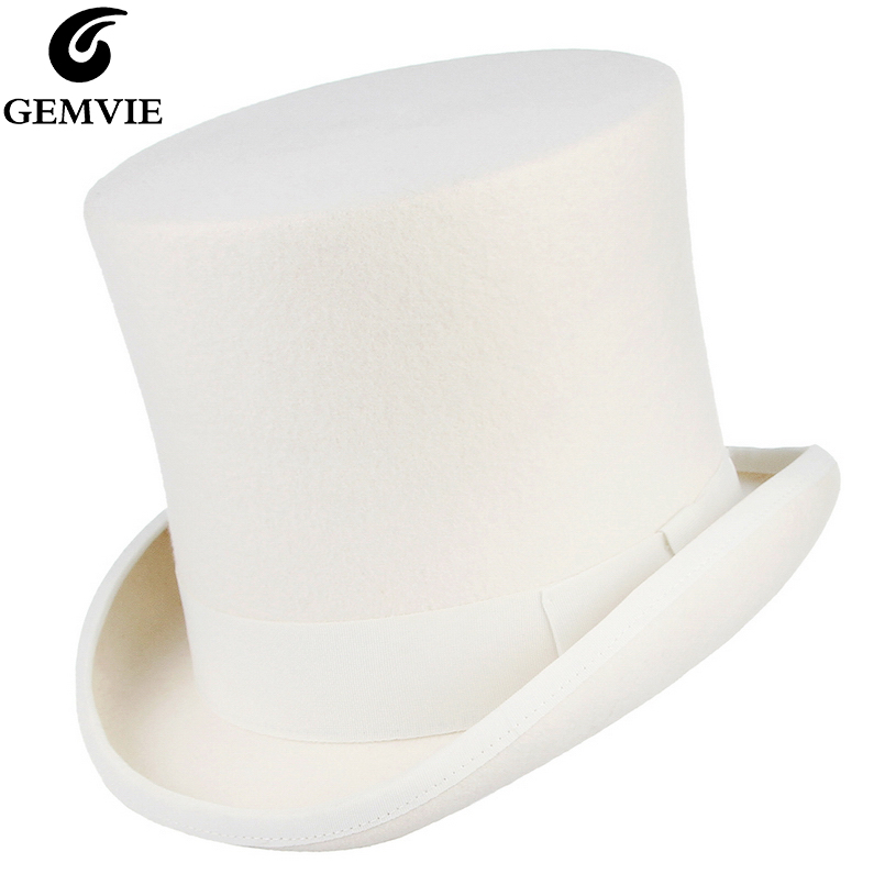 GEMVIE 17cm 100% Wool Felt White Top Hat Costume Fedora Cylinder Hat For Women/Men Topper Mad Hatter Party Derby Magician Hat