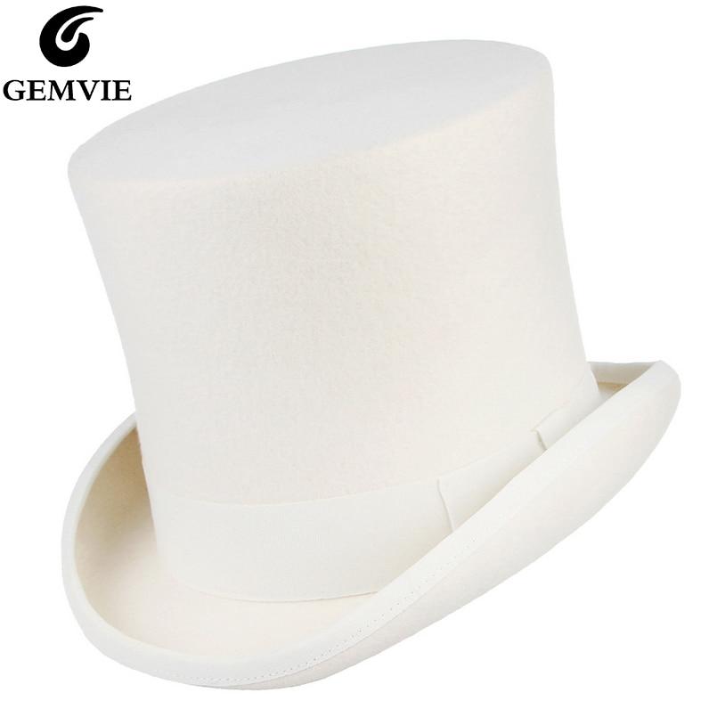 GEMVIE 17cm 100% Wool Felt White Top Hat Costume Fedora Cylinder Hat for Women/Men Topper Mad Hatter Party Derby Magician Hat