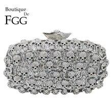 Boutique De FGG Bolso De mano con diseño De calavera y diamante para mujer, Pochette con diamantes De imitación, para noche, boda, Gala y Cena