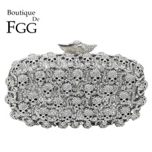 Boutique De FGG Diamond Skull Clutch Women Evening Bags Ladies Crystal Handbags and Purses Wedding Gala Dinner Minaudiere Bagevening clutch bagsclutch bagwedding clutch purse