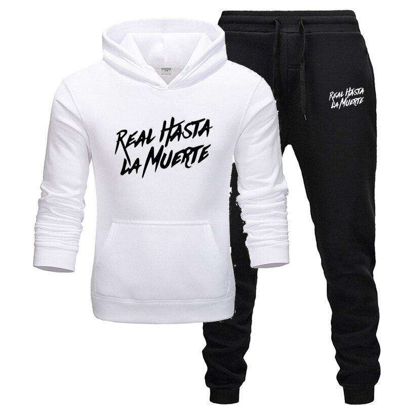 2019 New Hoodie Black Sweatshirt Men Freestyle Mens Real Death La Muerte Casual Unisex Sportswear Set