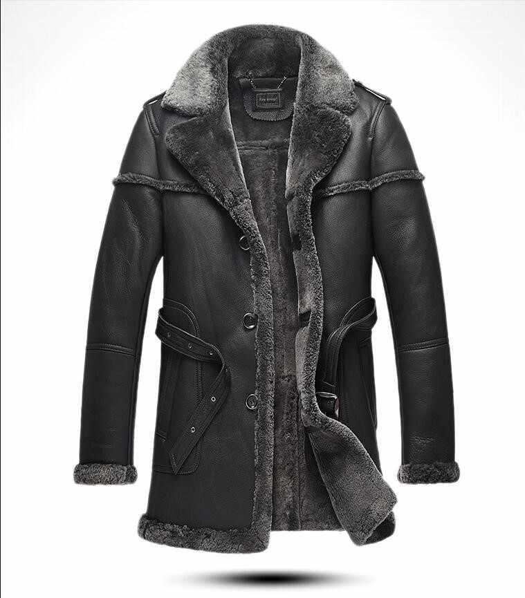 Новое поступление зимняя мужская куртка из натуральной кожи с мехом в стиле