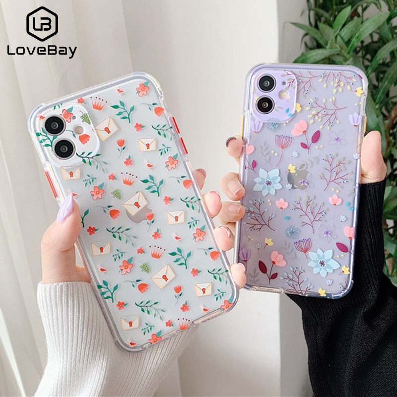 Lovebay Flower Leaf Case For iPhone 11 11 Pro Max 8 7 Plus X XS Max XR SE 2020 Cute Transparent Soft TPU Bumper Back Cover Coque