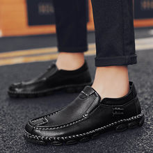 Luxury brand Fashion Men Loafers Driving Dress Shoes Men genuine Leather handmade sewing Shoes Men Oxford Shoes big size 47(China)