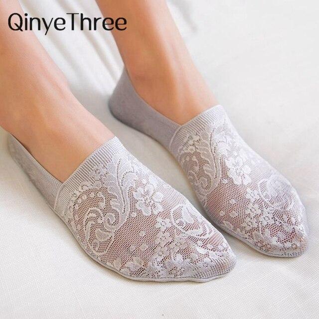 Women Girls Summer Style Lace Flower Short Sock- Antiskid Invisible Ankle Socks  1