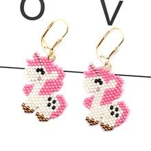 FAIRYWOO Sweet Heart Unicorn Earring Women Pink Pendientes Jewelry Handmade Beads Earrings Fantastic Cute Animals Dangle