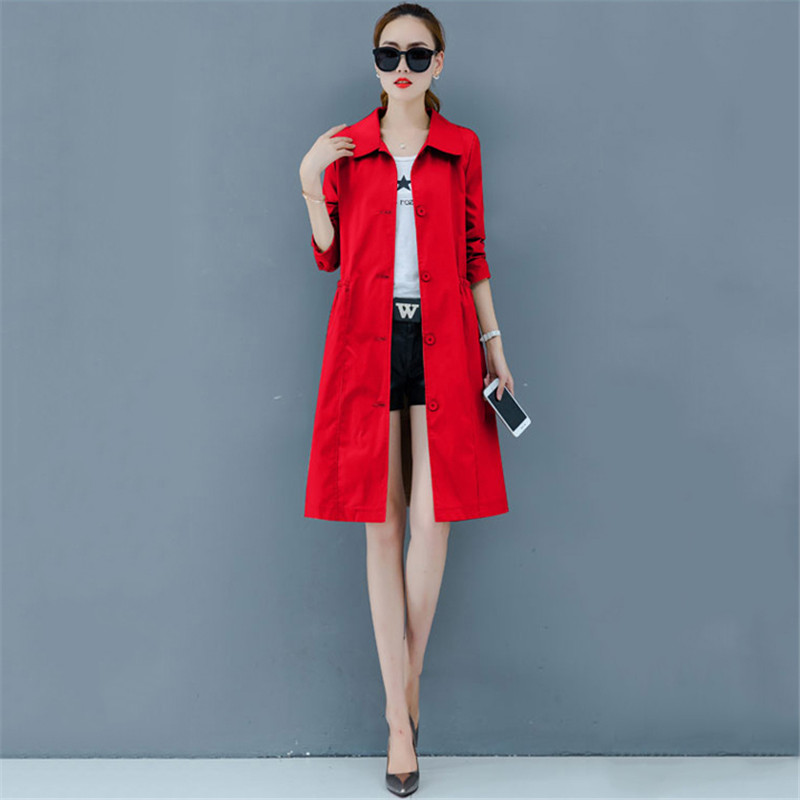 Trench   Coat Women Red Plus Size Loose Single-breasted Windbreaker 2019 New Autumn Fashion Pink Pockets Thin Slim Long Coat LD721