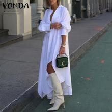 Maxi Dress Women Casual Long Sleeve Solid Button Down Asymmetric Hem Shirt Dresses 2021 VONDA Plus Size Bohemian Party Vestidos