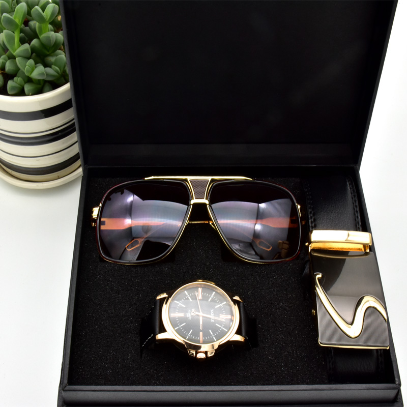 Ensemble lunettes ceinture montre quartz pour hommes