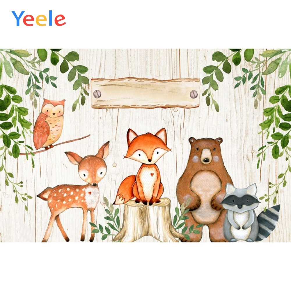 Wild Animal Woodland Backdrop Newborn Baby Shower Kids Birthday Party Custom Vinyl Photography Background For Photo Studio in Background from Consumer Electronics