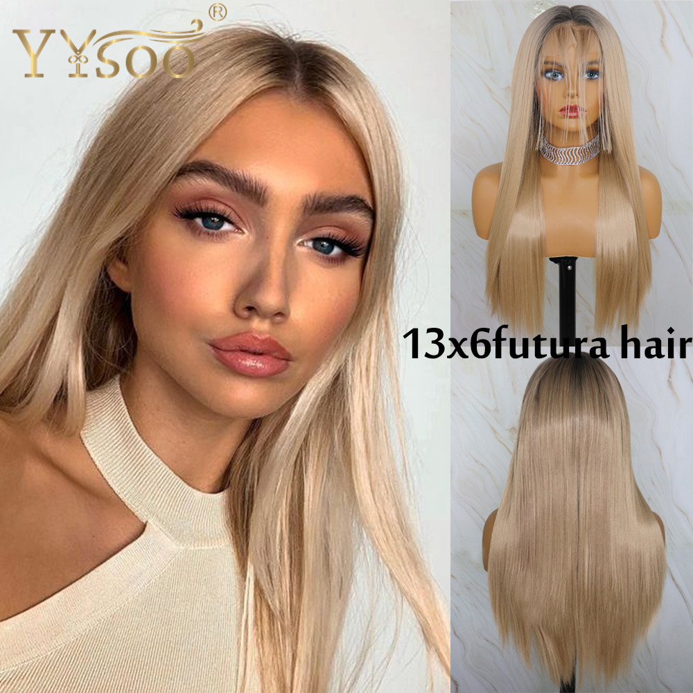 YYsoo13x6 Long Straight Glueless Synthetic Lace Front Wigs Dark Roots Heat Resistant Japan Futura Ombre Lace Wig With Baby Hair