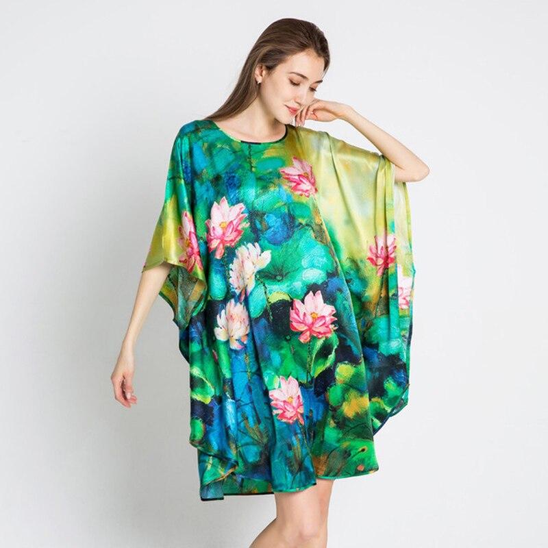Ladies Sexy 100% Silk Night Dress Bat sleeve Nighties O-neck Nightwear For Women Nightgown Plus Size Nightdress Sleepwear