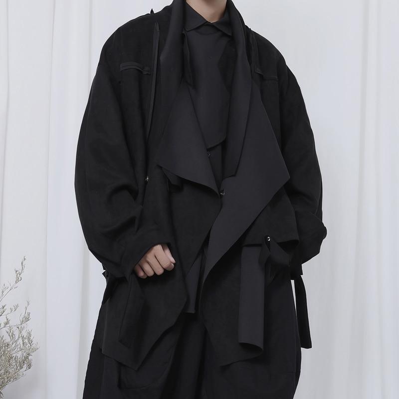 New Fashion Leather Jacket Men's Coat Stylist Personality Asymmetric Leather Velvet Loose Leather Jacket