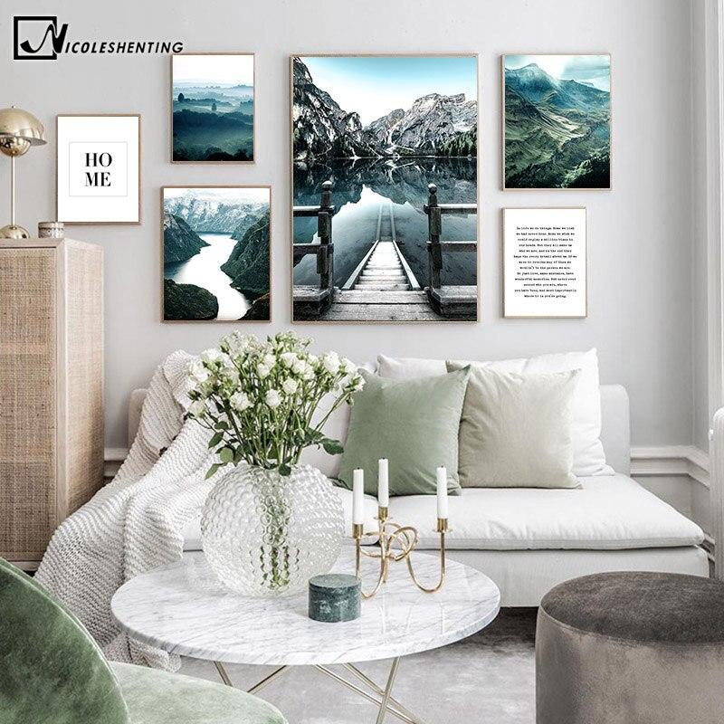 สแกนดิเนเวียนโปสเตอร์ Dolomites ทะเลสาบภูมิทัศน์ธรรมชาติสไตล์ Nordic Wall Art ผ้าใบพิมพ์ภาพวาดห้องนั่งเล...