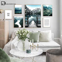 Scandinavian Poster Dolomites Lake Nature Landscape Nordic Style Wall Art Canvas Print Painting Living Room Decoration Picture