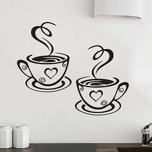 Новая наклейка на стену для дома, кухни, ресторана, кафе, чая, наклейка на кофейные чашки, Настенный декор, теплый дом, европейский стиль, стил...