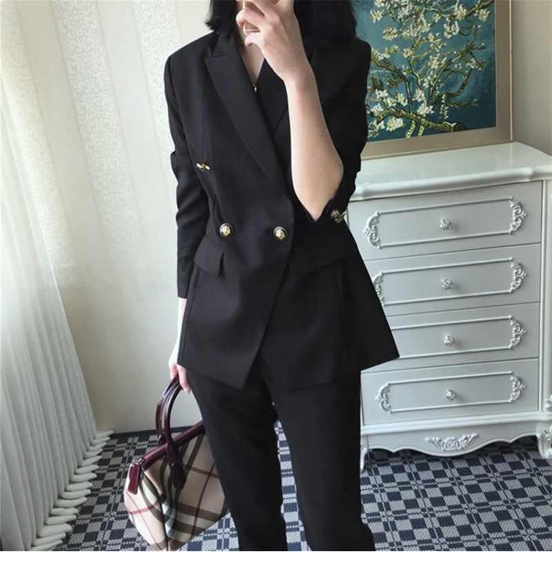 高品質のプロフェッショナル女性のスーツパンツスーツ秋の新大型サイズの女性の小さなスーツ女性スリムズボン 2019
