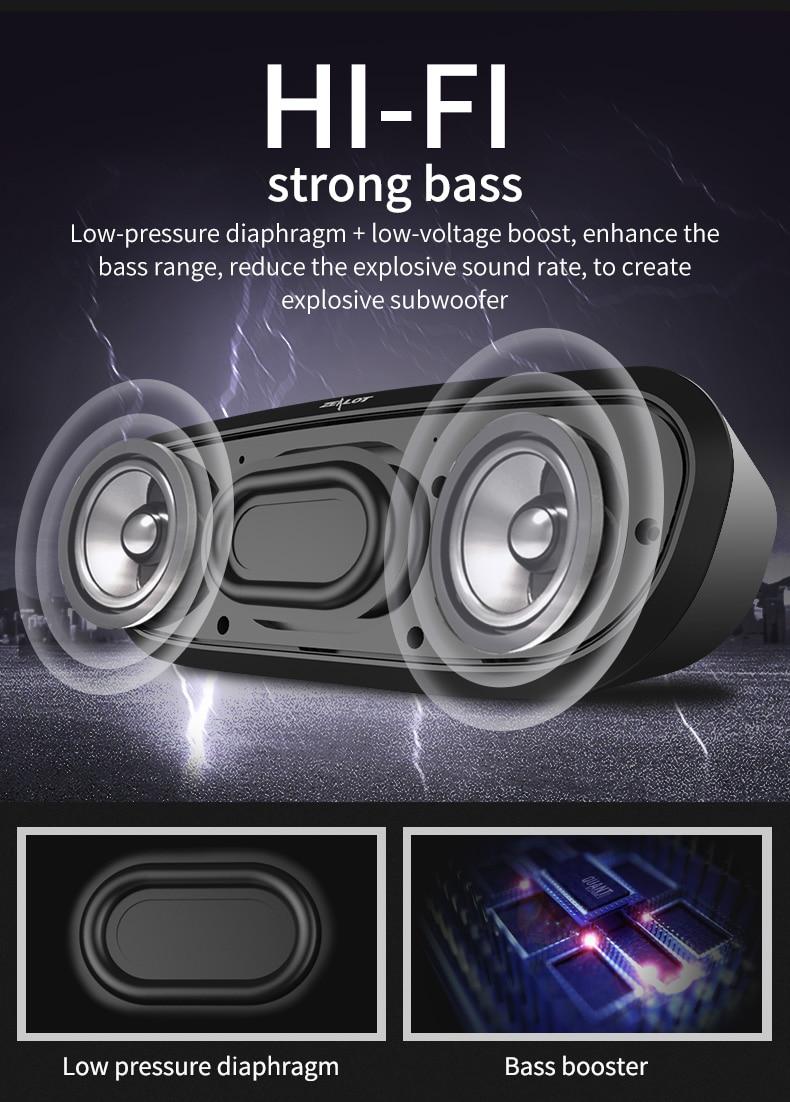 Zealot S9 HiFi Mini Bluetooth Speaker Portable Party Music Box Column Wireless Speaker Support TF Card,Aux, USB Flash Drive 6