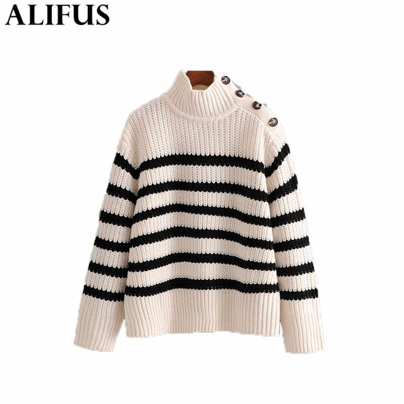 Fashion Za Women Sweaters 2019 Vintage Striped Buttons Decorate Turtleneck Sweater Long Sleeve Knitting Pullovers Jumper Ladies
