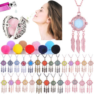 4 colors Feather tassel Aromatherapy jewelry cage Necklace Essential Oil Diffuser lockets Pregnant Women Pregnancy Necklace(China)