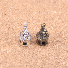 10pcs Charms flower house cabin 18x7x7mm Antique Pendants,Vintage Tibetan Silver Jewelry,DIY for bracelet necklace
