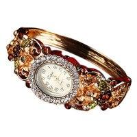 New Brand Women Bracelet Watch Fashion Pastoral Flowers Temperament Diamond Ladies Dress Watches Gift Quartz Watch Reloj Mujer