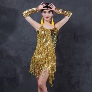 Image 2 - 라틴 댄스 드레스 의상 라틴 댄스 shinning 여성 라틴 댄스 여자 세트 경쟁 라틴계 드레스 프린지 스팽글
