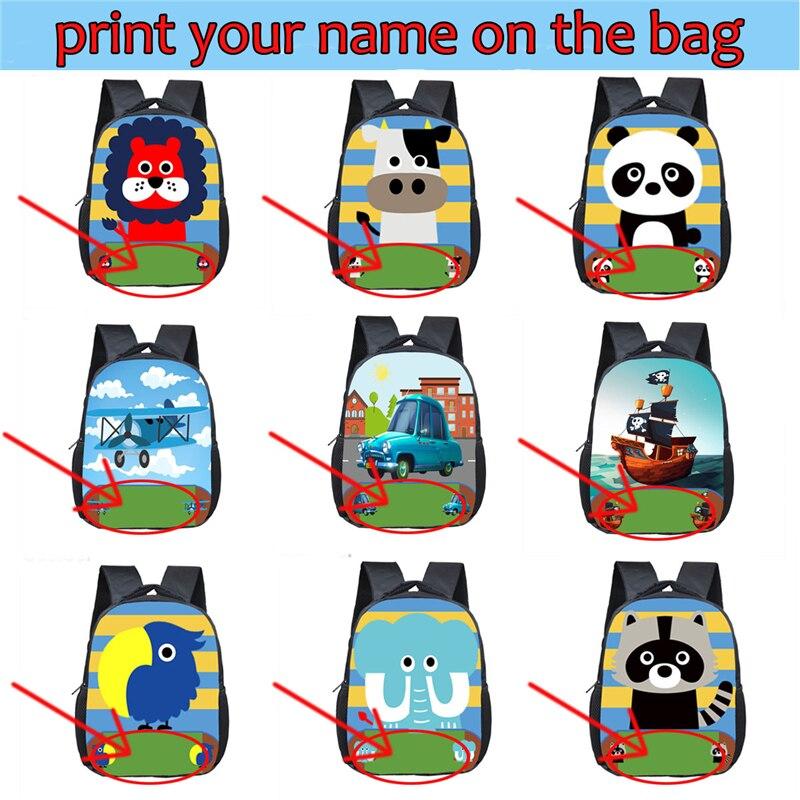 Customize The Name Backpacks Cartoon Animal / Unicorn / Plane Children School Bags Boys Girls Book Backpacks Kids Bag Best Gift