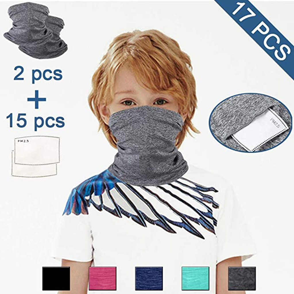 2mask With 15 Filter Children Mask Multifunctional Windproof Sunscreen Neck Sleeve Outdoor Sports Ri