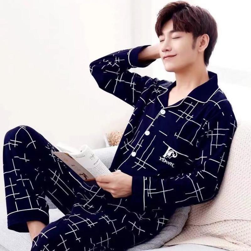 Пижамный комплект Мужской Хлопковый в полоску, повседневная одежда для сна, длинные штаны с коротким рукавом, домашняя одежда, одежда для от...