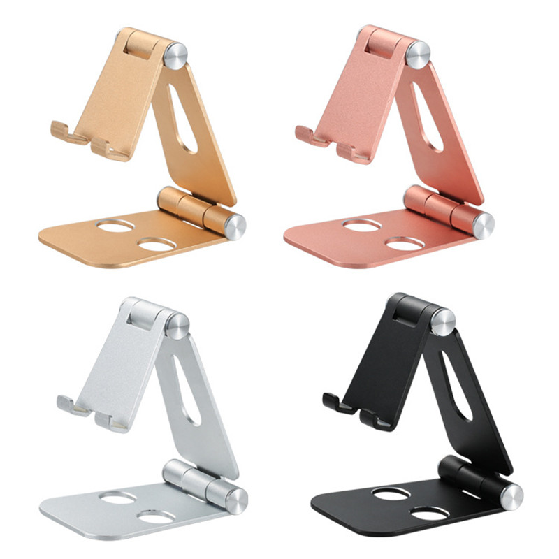 2020 New Style Aluminum alloy double folding mobile phone tablet stand desktop aluminum alloy stand Mobile Phone Accessories